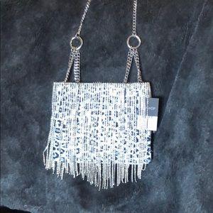 Top Shop Small Snow Leopard Print/Rhinestone Bag